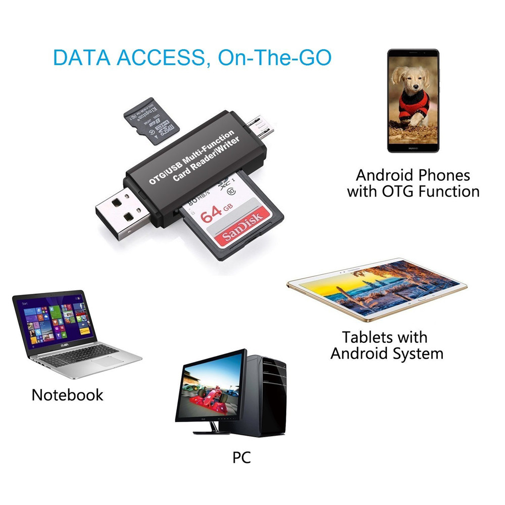 2 In 1 USB Memory Card Reader Micro USB OTG to USB 2.0 Card Adapter SD/Micro SD TF Card Reader For Android Phone Tablet PC