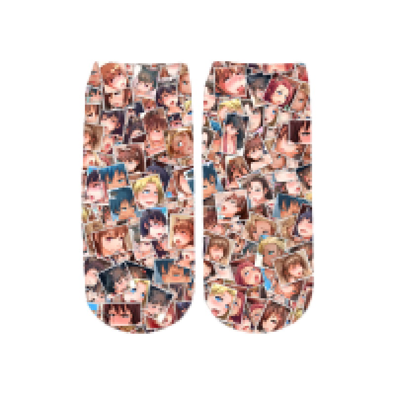 PLstar Cosmos girl anime 3D Printed Face Red Woman cute cotton short ankle socks for Men Women harajuku Shy Girl Sexy socks 2
