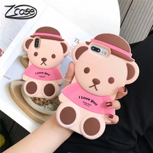 Soft Cartoon pink Bear Silicone Case for iPhone XS MAX Cover 3D Phone Fundas Apple X 6 6S 7 8 Plus XR Rubber Cute Coque