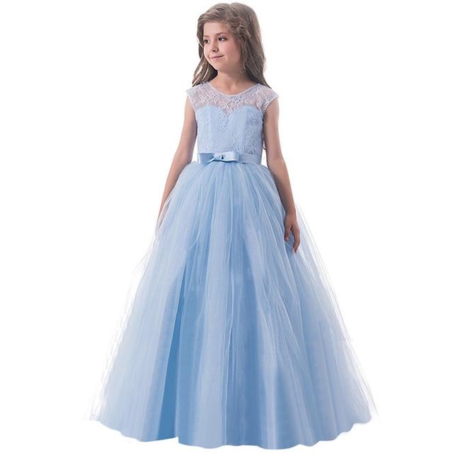 c6449cc8574 Summer Lace Tulle Dress for Girls Wedding Formal Prom Gown Flower Girl  Children Birthday Graduation Dresses for Girls 14 Years