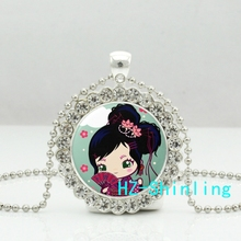 New Harajuku Girl Necklace Harajuku Girl Crystal Pendant Anime Girl Jewelry Silver Crystal Pendant Necklace
