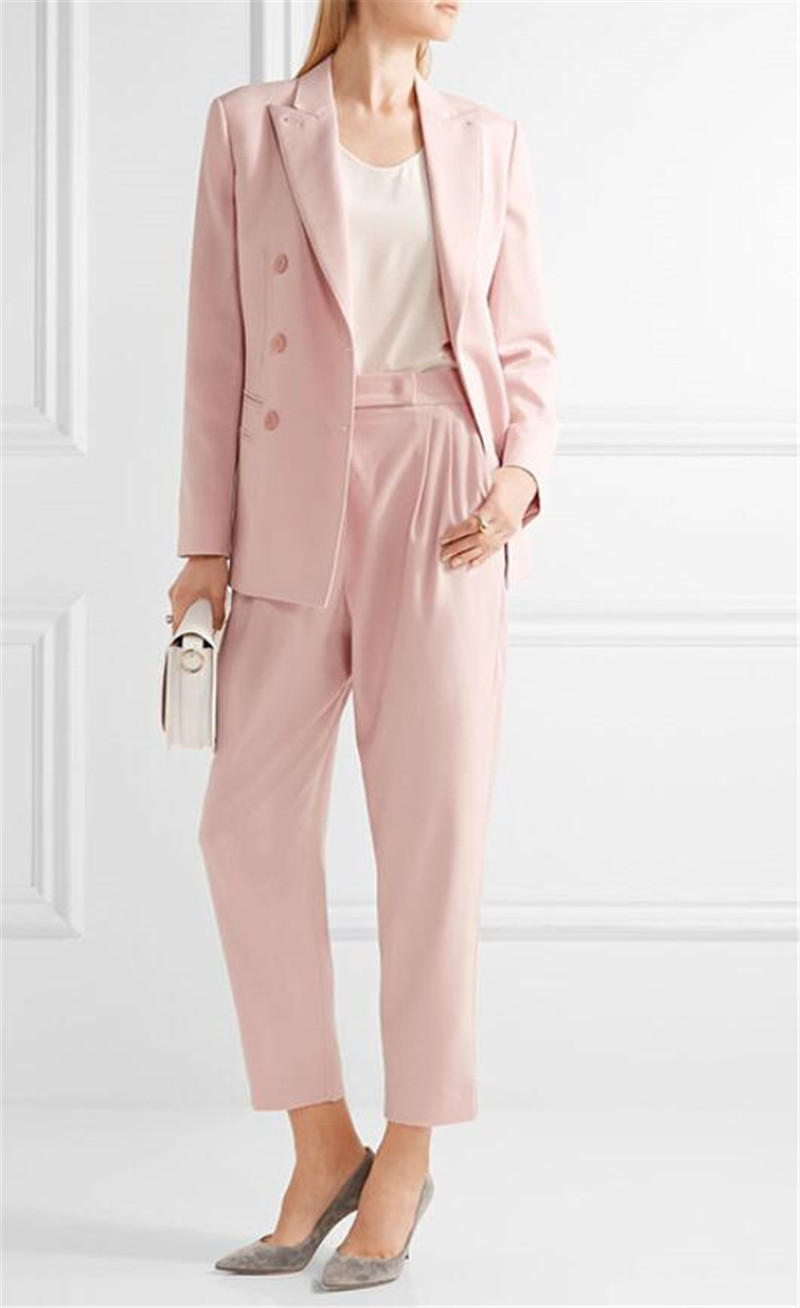 Pink Women Ladies Business Office Tuxedos Formal Work Wear Suits Custom Made