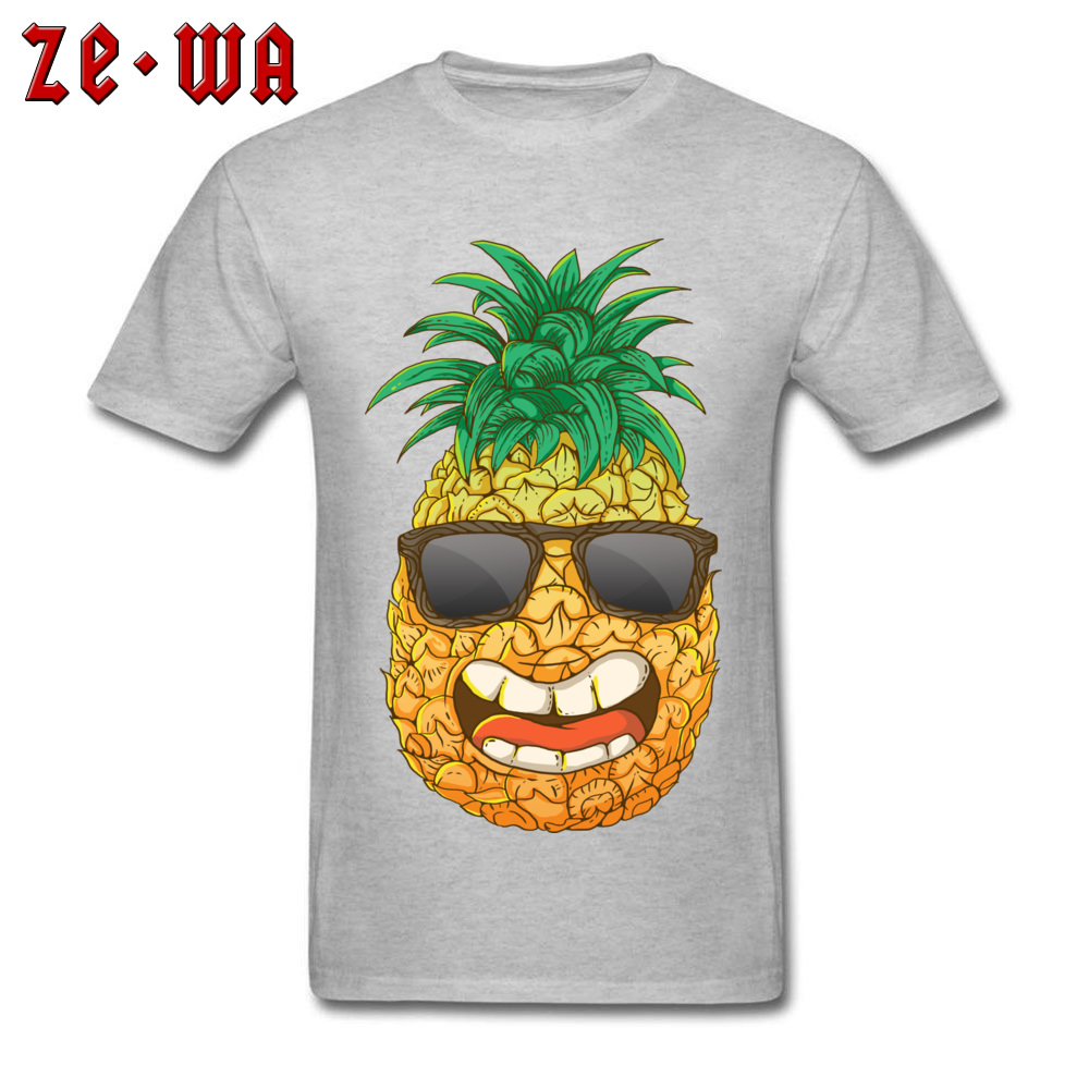 Cool Pineapple Round Neck Top T-shirts Labor Day Tops Shirts Short Sleeve Special Cotton Cool Tops & Tees Custom Student Cool Pineapple grey