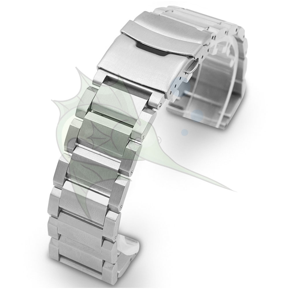 Image 2 - High End Black Silver Stainless Steel Watch Strap 23mm 25mm Flat Type Bracelet Stainless Steel Watchband-in Watchbands from Watches