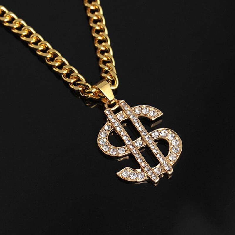 Hip Hop Rap Gold Color US Dollar Pendant Necklace Chain Accessories Hiphop...