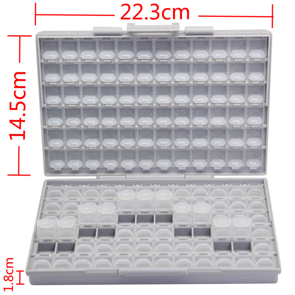 AideTek BOX-ALL-144 SMD SMT resistor capacitor storage box Organizer 1206 0805 0603 0402 0201 enclosure plastic part box BOXALL 0805 240k 5 1m smd resistor white 420 pcs