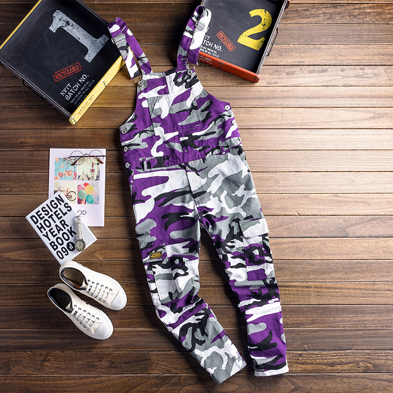Men Camouflage Cargo Jumpsuits Male Baggy Camo Overalls Hiphop Suspender Harem Pants Streetwear Loose Stap Trousers D81202 Cargo Pants Men's Clothing