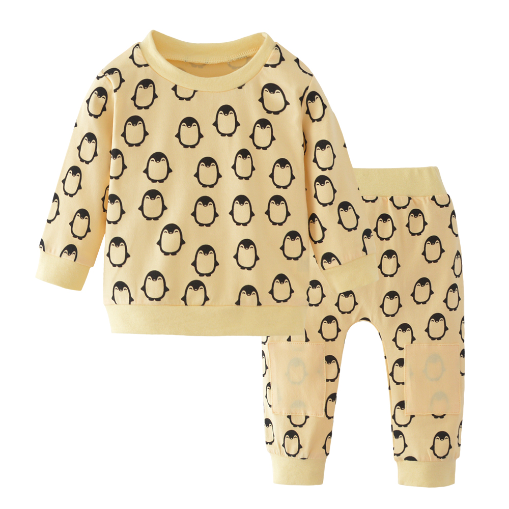 Autumn Baby Boy Clothes Baby Clothing Set Fashion Cotton Long Sleeved Penguin T Shirt Pants
