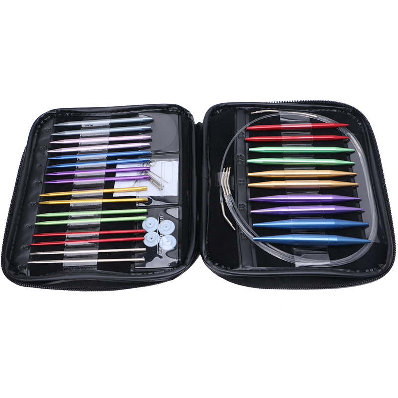 13Pcs/Set Aluminum Interchangeable Circular Knitting Needle Ring Set Kit Woven Tools Sewing Tools Pins Sets