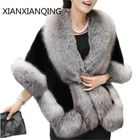 XIANXIANQING Luxury Brand Winter Scarf Womens Fur Collar Lady Wedding Autumn Fur Coat Shawls And Capes
