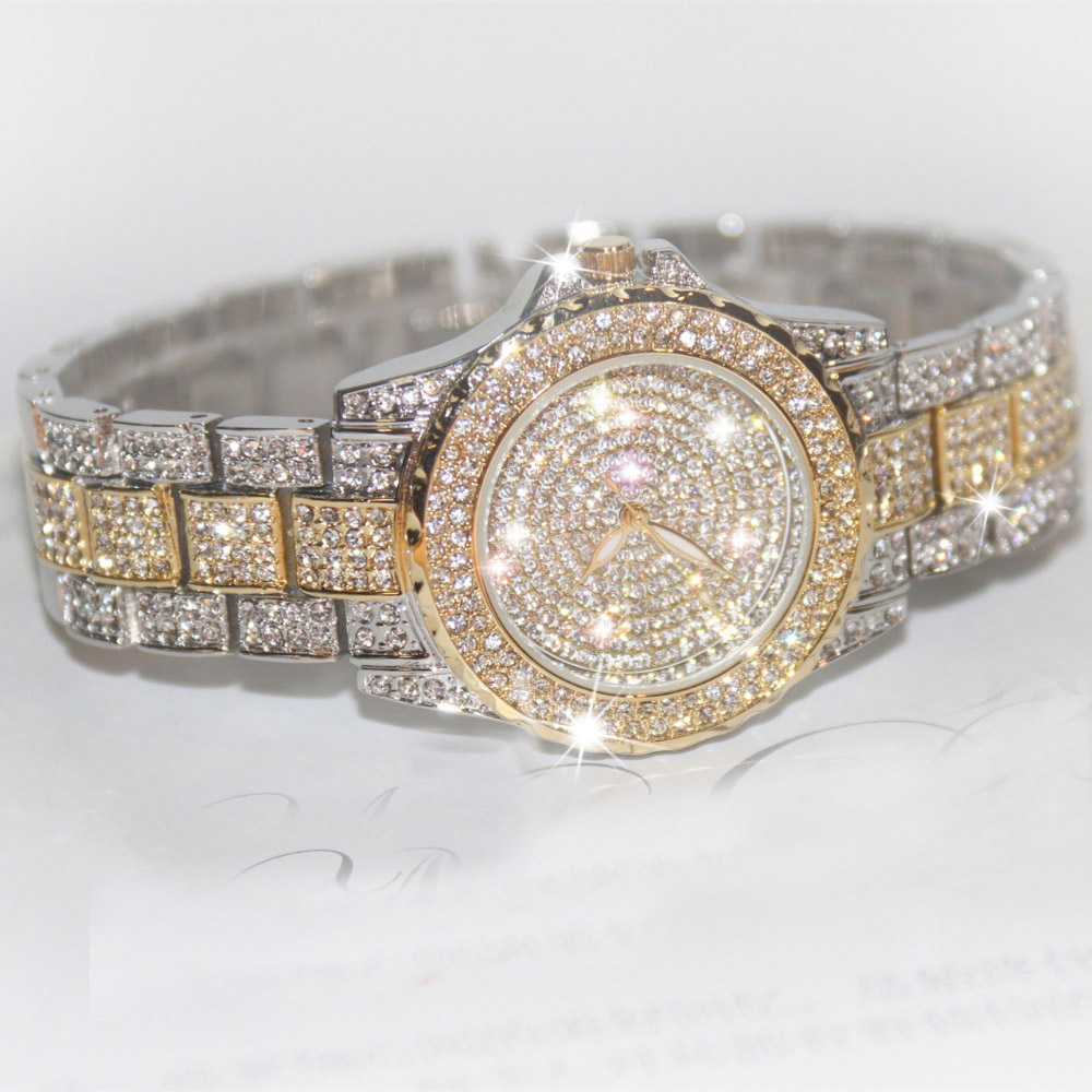 Hot Sale Famous Brand Bling Watch Women Luxury Austrian Crystal Watch Rose Gold Shinning Diomand Rhinestone