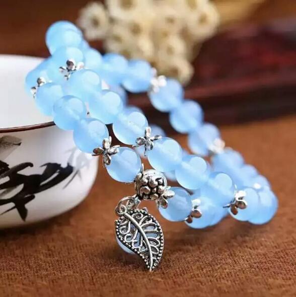 RongDe Bleu Cristal Bracelets Ronde Perles Chanceux Tibétain Argent Feuille Pendentif pour les Amateurs Bracelet En Cristal Multicouche Bijoux