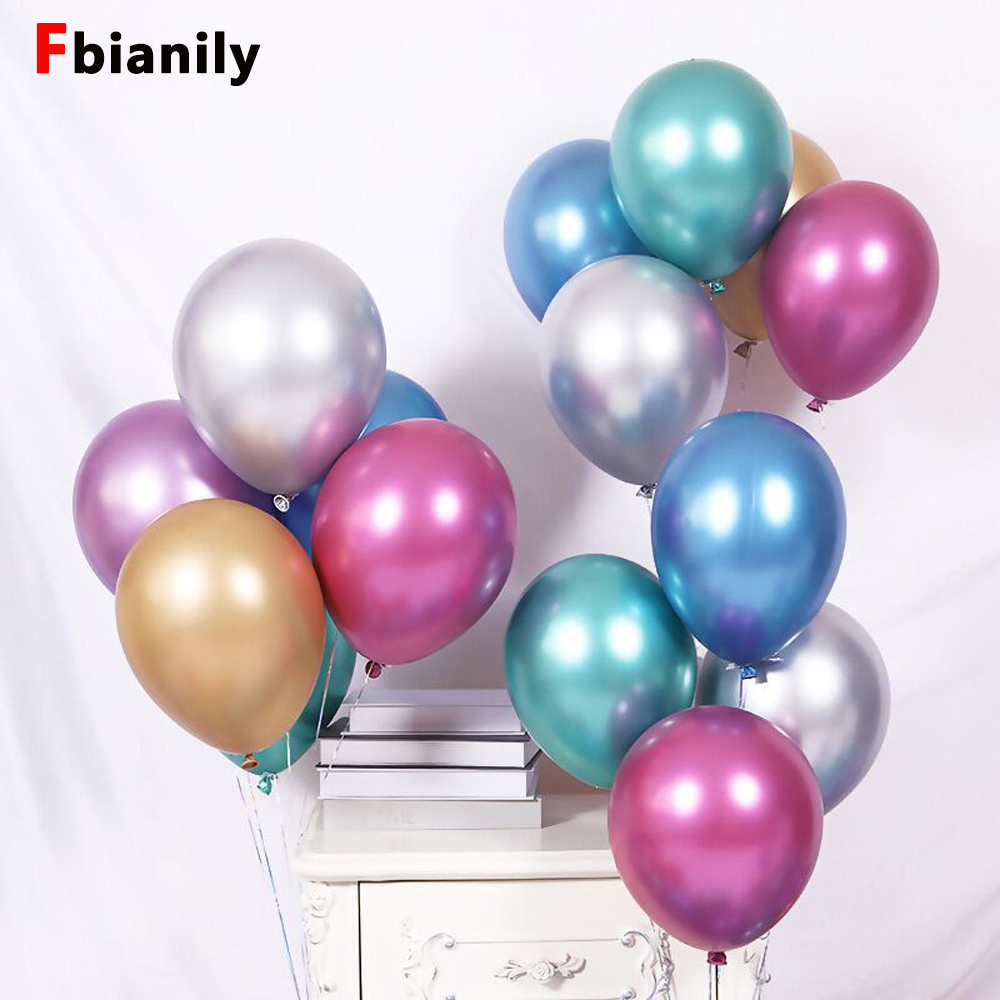 10pcs 12inch new chrome metal latex balloons Wedding celebrations thickened Birthday party decorations