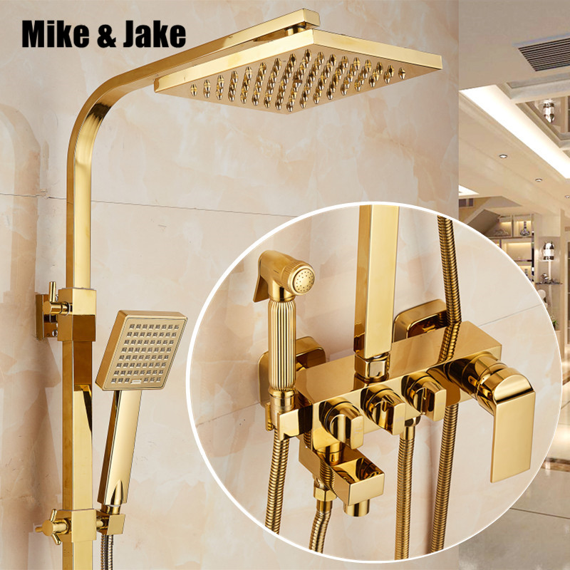 Bathroom golden shower set rainfall shower gold luxury bathtub shower mixer set gold Bath Shower hot