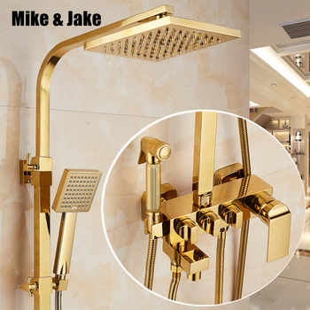 Bathroom golden shower set rainfall shower  gold luxury bathtub shower mixer set  gold Bath Shower hot and cold Faucet set - DISCOUNT ITEM  35% OFF All Category
