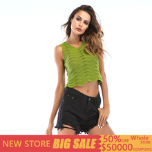 Casual Hollow Out Crop Top Women Crochet Knitted Sleeveless Solid Tank Top Women Summer Sexy Vests Femme Tops Mujer Verano 2019