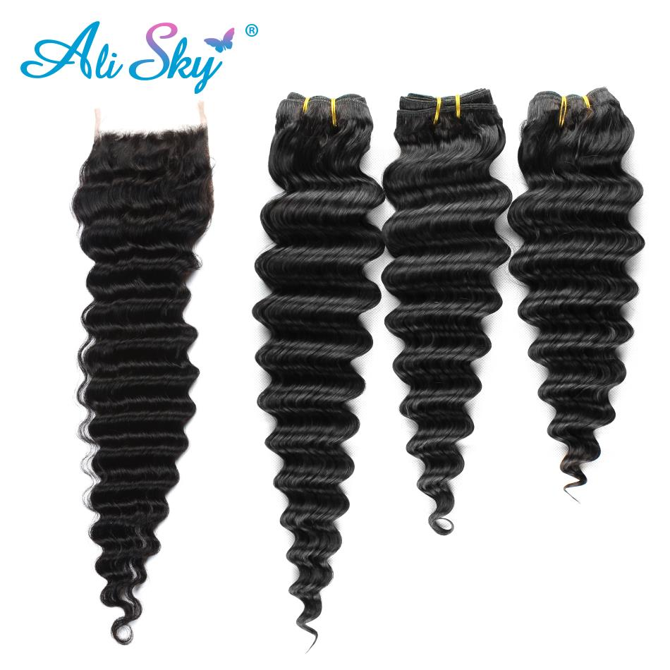 Alisky Hair Deep Wave Peruvian Hair Weave Bundles With Closure Double Weft Human Hair 3 Bundles With Closure No Tangle Remy Hair