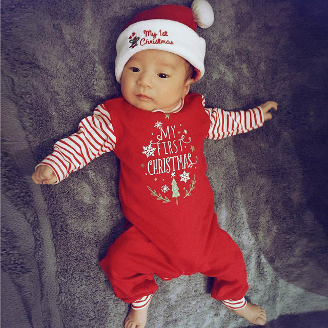 6748c6f86 0-18 Months Baby Cotton Blend Christmas Clothes Newborn Baby Girls Boys  Letter Rompers Jumpsuit Set Outfit Clothes #YL