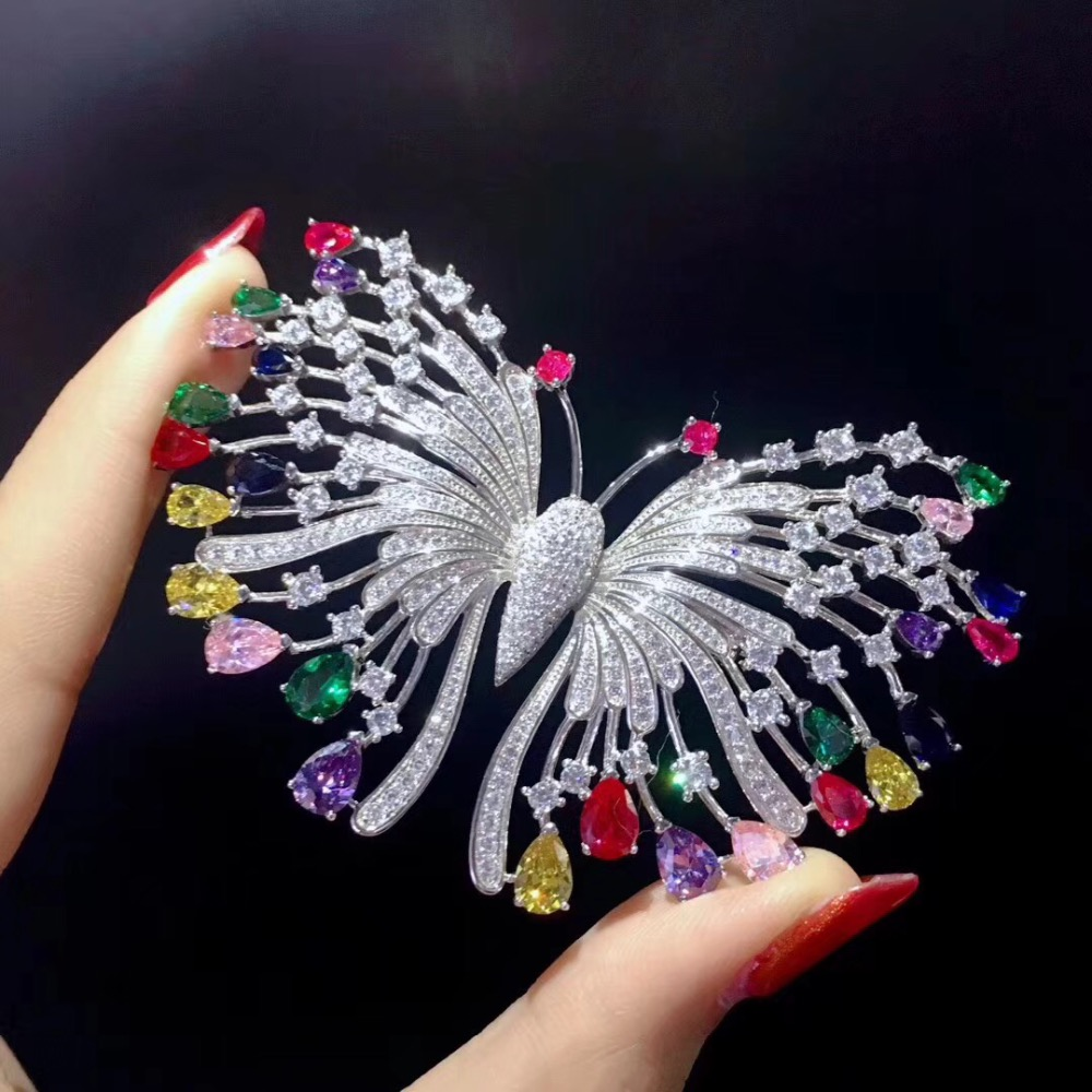 925 sterling silver with cubic zircon butterfly brooch pins multi color fashion women jewelry free shipping green color 925 sterling silver with cubic zircon bird brooch pins fashion women jewelry free shipping