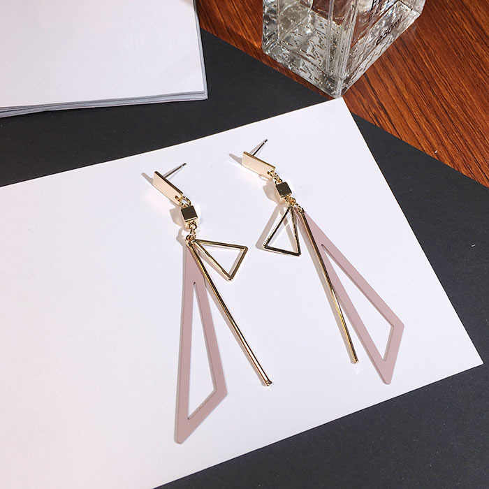 Korean Creative Fashion Long Geometric Triangle Tassel Earrings For Women's Fine Gift Exaggerated Dangle Earring