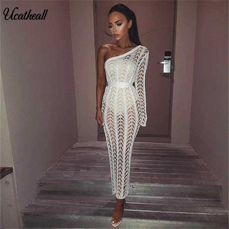 9af60b6f3bc0 New Sexy Tunic Bandage Party Dresses Women 2018 Summer Elegant Off Shoulder  Hollow Out Knitted Nightclub