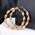 New Fashion Free Shipping Circle Polished Shiny Gold Plated Twisted Extra Large Back Hoop Gold Filled Earrings