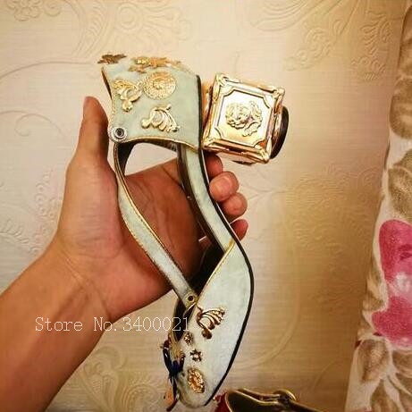 2018 Talon Mary Janes En Pic Chaussures Métal Zapatos De Avec Boucles Sandales Pompes Luxe Fleurs As Mujer Femme Carré Jewel D'été Décor as Pic Rétro FF0rxqpw