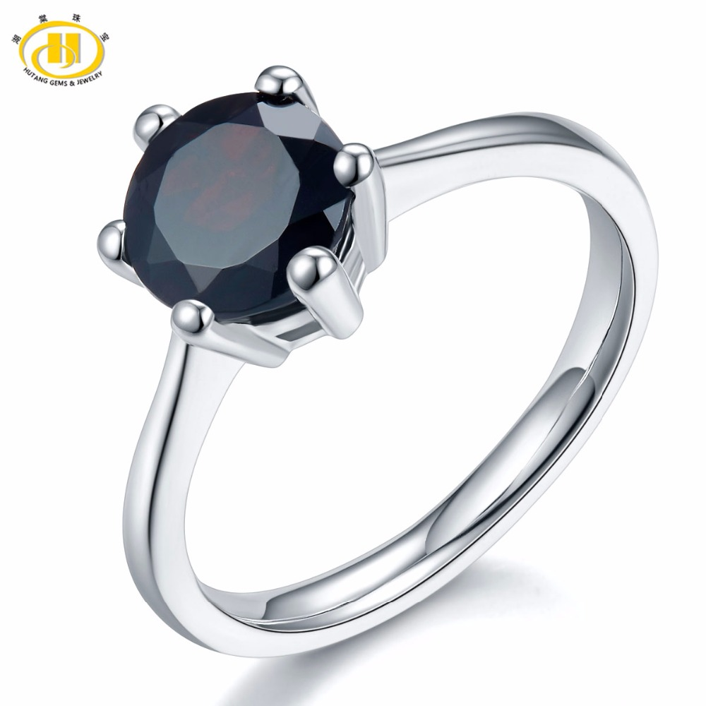Hutang 2.25ct Natural Black Garnet Women's Ring 925 Sterling Silver Rings Fine Elegant Red Gemstone Jewelry Classic Design New