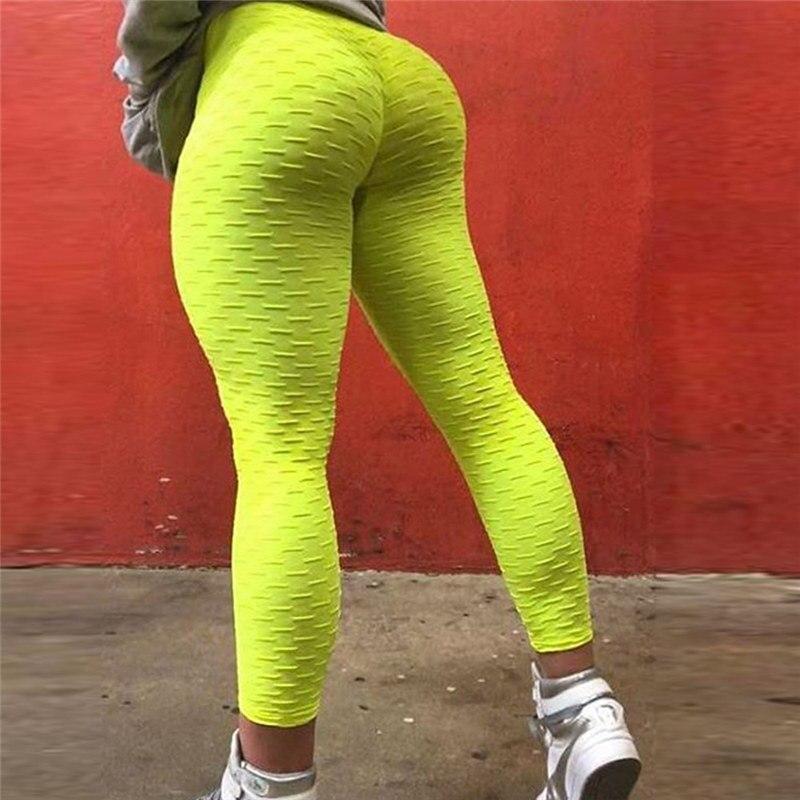 Neon Green Fitness   Leggings   Under Pants Fishnet Grid Push Up   Leggings   Women Workout Wear