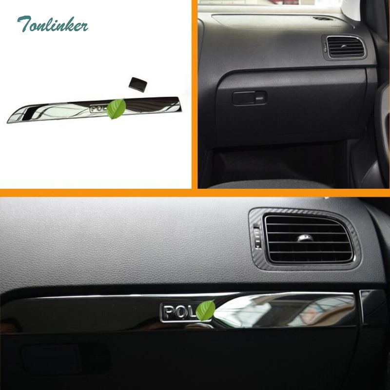 Tonlinker Cover Stickers for VW Volkswagen Polo 2011-17 Car Styling 2PCS Stainless steel Glove box edge Decoration cover sticker