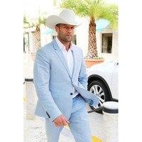 Light blue gentleman masculino 2018 latest design men wedding suit dress terno slim fit groom mens suits smoking costume homme