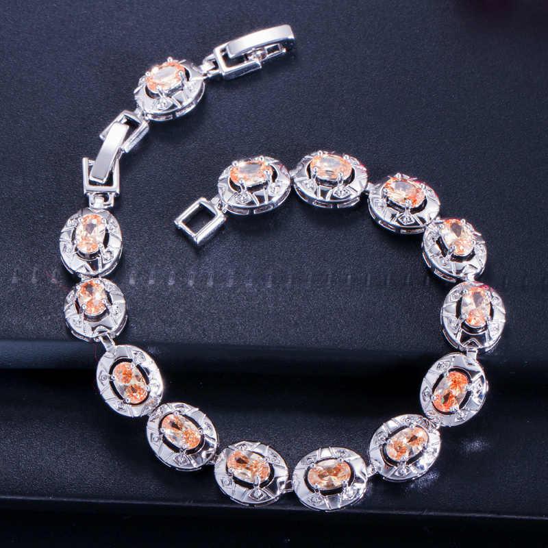 BeaQueen Famous Brand Dark Blue CZ Crystal Women Jewelry Fashion Oval Cut Cubic Zirconia Stone Tennis Bracelets Bangles B014