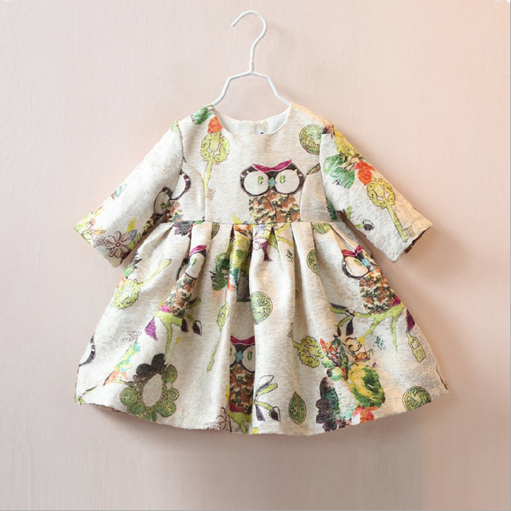 2016 Summer Baby Girl Toddler Clothing For Lnfant owl Printing Style Princess Dress Children's Dresses kids Clothing