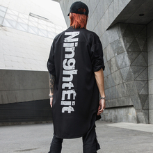 New Darkly  Stylish Printed Letters Mens Long-Sleeve Shirts Hip Hop Autumn Male Thin Stage Youth Punk Shirt Streetwear Wrap