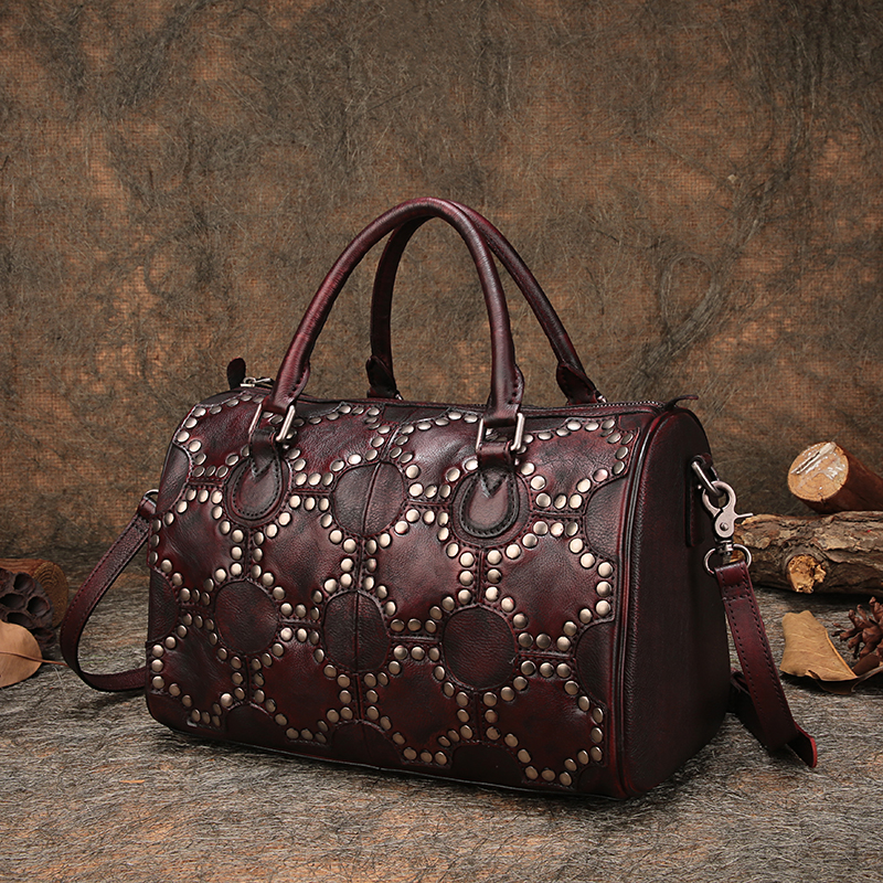 7bcee9f85c Pillow Women Handbag Handmade Natural Leather Studded Handbags 2018 Genuine  Leather Shoulder Bag Female Messenger Portable Bags -in Shoulder Bags from  ...