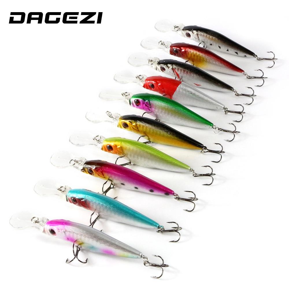 DAGEZI 10pcs/lot Fishing Lure 1.5-2.5M Deep swim hard fishing bait 11CM/13G artificial baits minnow fishing lures wobbler pesca