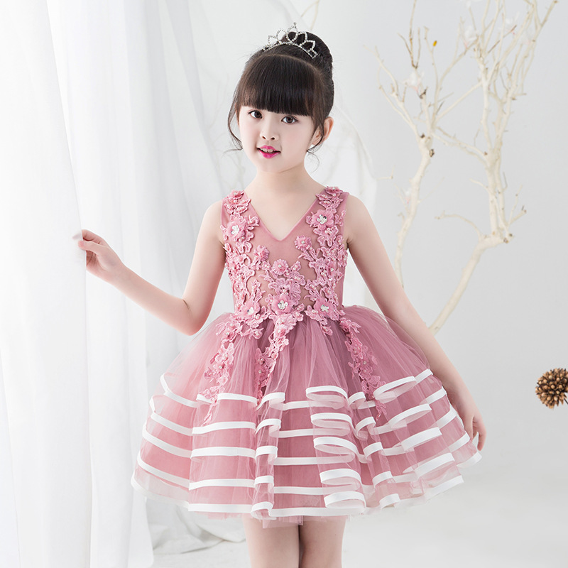 2018 New Flower Girl Dress Purple Ball Gown Kids Pageant Gowns Wedding Girls Party Dress Birthday Princess Dresses AA226 new high quality fashion excellent girl party dress with big lace bow color purple princess dresses for wedding and birthday