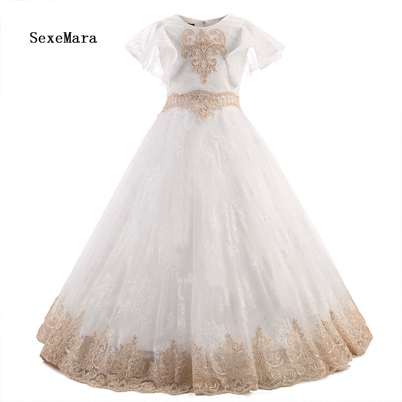 Champagne Lace Flower Girl Dresses O-neck Ball Gown Pageant Dresses Communion Gown for Wedding Custom Made Vestido lovely purple ball gown long flower girl dresses for wedding custom made girls pageant gown