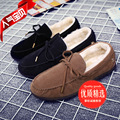 British Popular Trend Men Loafers Casual Round Toe Bow Tie Slip On Flats Winter Plush Suede Leather Driving Shoes Masculinos