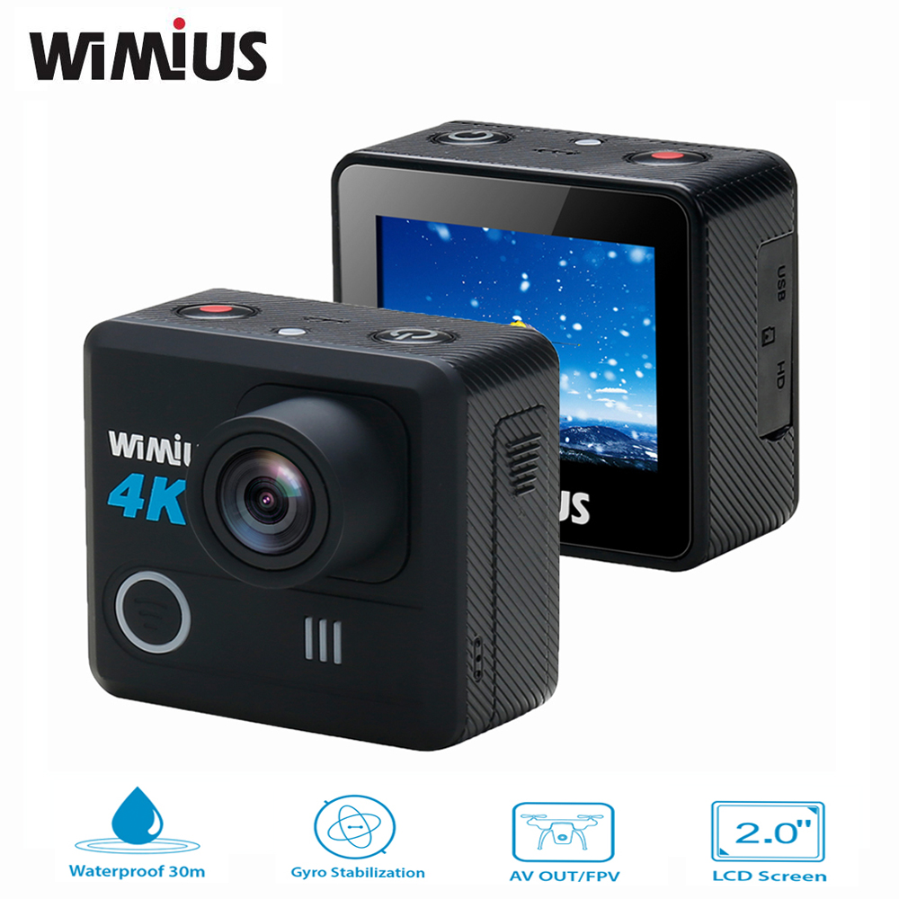 Wimius 4k Action Camera Wifi 20M Mini Sport Helmet FPV Camera Full HD 1080p 60fps Go Waterproof 30m Pro Car DVR For Camera Drone original drift stealth 2 action camera motorcycle bike go bicycle pro helmet sport dv camera wifi mini camcorder smart moto dvr