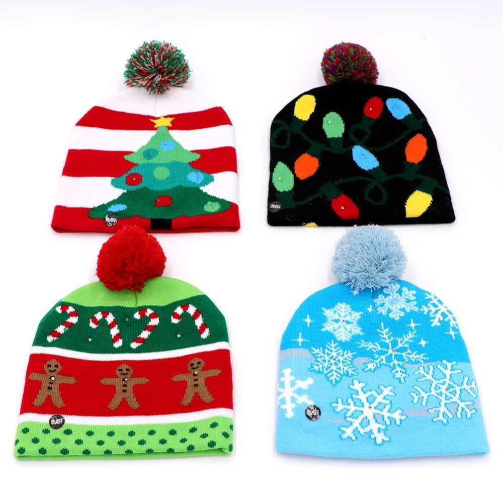 OurWarm Led אור כותנה חג המולד כובע לסרוג למעלה כפת כובע ילדים ילדים בוגרים כובע חג המולד המפלגה קישוט ראש השנה מתנות