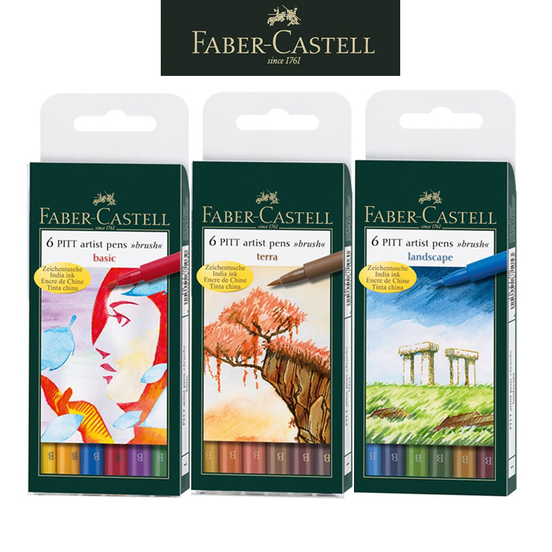 Faber Castell India ink Pitt Artist Marker Pen B 6 basic/terra/landscape/grey, multi color soft brush pens for kids and artistFaber Castell India ink Pitt Artist Marker Pen B 6 basic/terra/landscape/grey, multi color soft brush pens for kids and artist