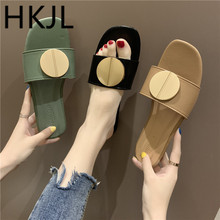 HKJL Fashion Slipper women wear fashion with 2019 summer new flat - bottom metal round buckle one word slippers A711