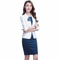New Summer Skirt Suit Women Slim Single Button Blazers Skirt Two Piece Set Business Work Skirt Suits 2018