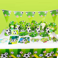 NEW Kids Boy Event Birthday Party Paper Tableware Plate Banner Mask Football Birthday Prince Disposable Party