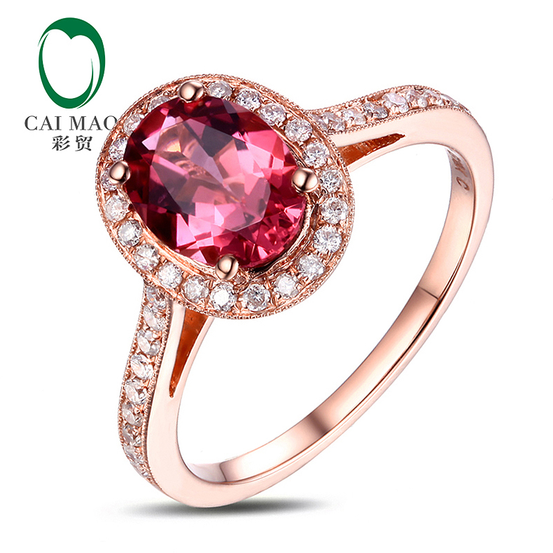 Caimao 14k Rose Gold 1.26ct Pink Tourmaline Natural Diamond Engagement Ring Fine Jewelry Free Shipping new free shipping 11 68ct 15mm round purple amethyst 14k gold natural diamond engagement ring