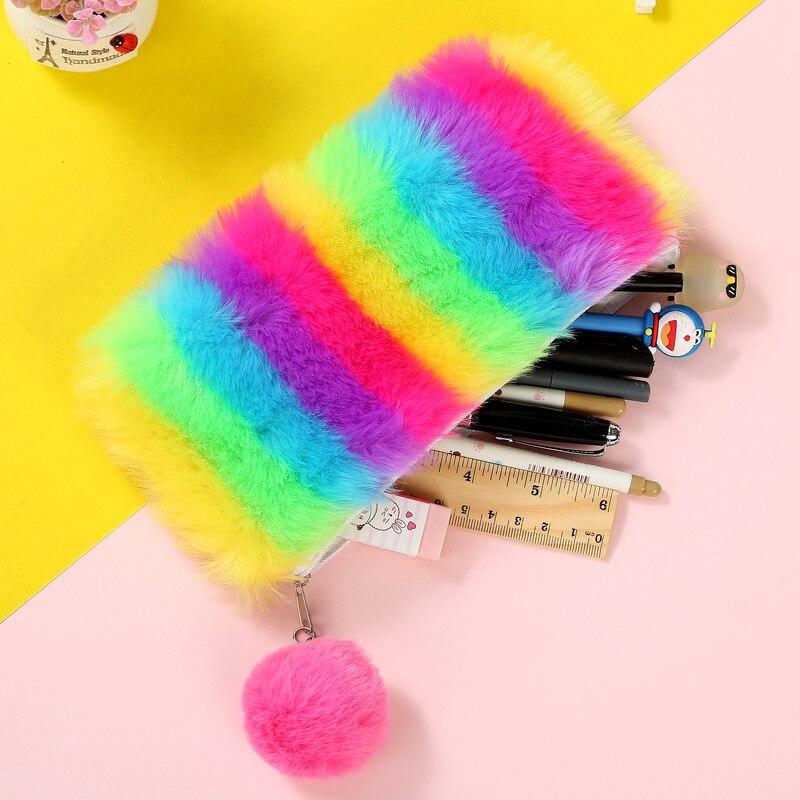 Pencil Case Kawaii Pen Box Laser Plush Ball School Supplies Stationery Rainbow Iridescent Makeup Bags Storage Student Tools Gift