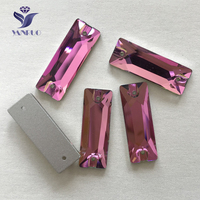YANRUO #3255 All Sizes Rose Cosmic Baguette Sew On Strass Glass Sewing Stones Crystal Flat Back Rhinestone For Jewelry