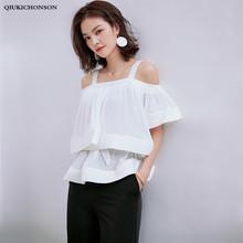 Lazy Oaf Wide Straps Pleated Ruffle Off Shoulder Tops Ladies Elegant Casual Boho Chic Flare Sleeve White Chiffon Blouse Shirts ruffle detail wide cuff trapeze pinstripe blouse