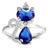 BELLA 925 Sterling Silver Queen Cat Cocktail Ring Lovely Animal Blue Cubic Zircon Ring For Women